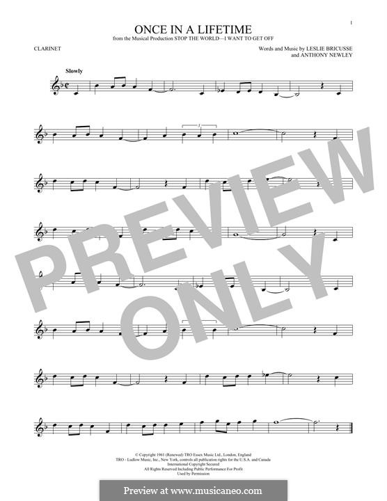 Once in a Lifetime (from the musical Stop the World - I Want to Get Off): For clarinet by Anthony Newley