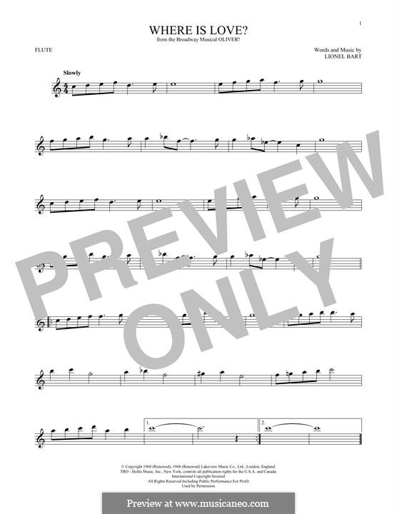 Where Is Love?: For flute by Lionel Bart