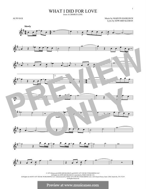 What I Did for Love (Priscilla Lopez): For alto saxophone by Marvin Hamlisch