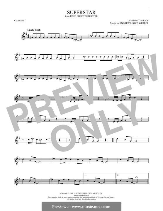 Superstar: For clarinet by Andrew Lloyd Webber