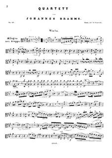 Piano Quartet No.2 in A Major, Op.26: Viola parts by Johannes Brahms