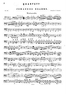 Piano Quartet No.2 in A Major, Op.26: Cello part by Johannes Brahms