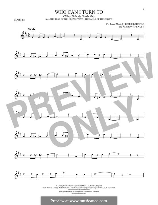 Who Can I Turn To?: For clarinet by Anthony Newley, Leslie Bricusse
