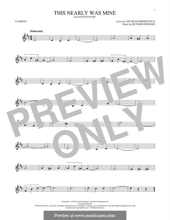This Nearly Was Mine (from South Pacific): For clarinet by Richard Rodgers