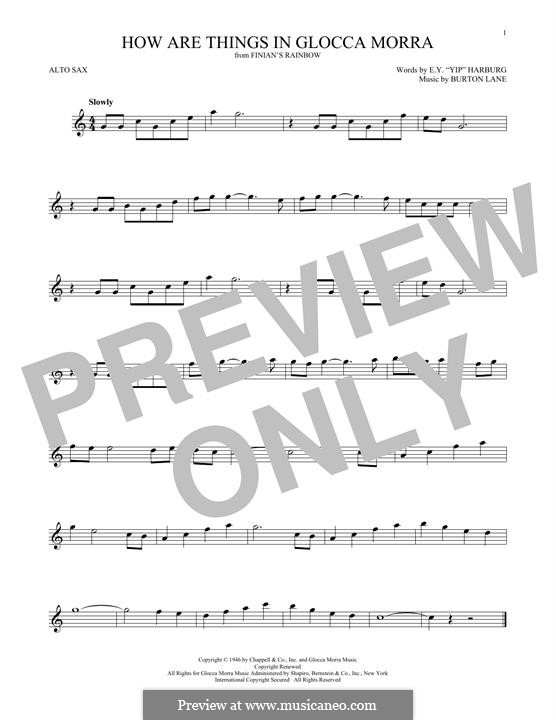 How are Things in Glocca Morra: For alto saxophone by Burton Lane