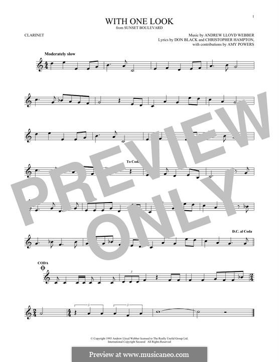 With One Look: For clarinet by Andrew Lloyd Webber