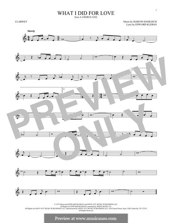 What I Did for Love (Priscilla Lopez): For clarinet by Marvin Hamlisch