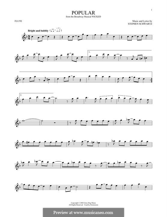 Popular (from Wicked): For flute by Stephen Schwartz
