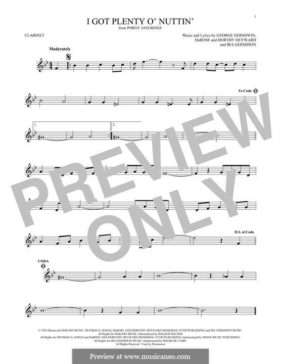 I Got Plenty O' Nuttin': For clarinet by George Gershwin