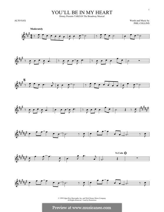 You'll Be in My Heart (from Walt Disney's Tarzan): For alto saxophone by Phil Collins
