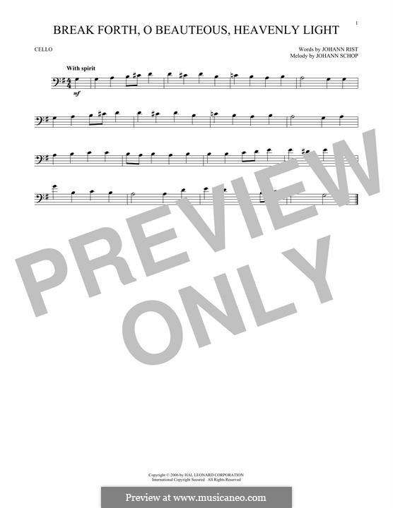 Break Forth, o Beauteous, Heavenly Light: For cello by Johann Schop