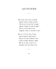 Quattro poesie liriche (Four Lyric Poems), BV 191 Op.40: No.3-4 Autunno, Inverno (Autumn, Winter) by Ferruccio Busoni