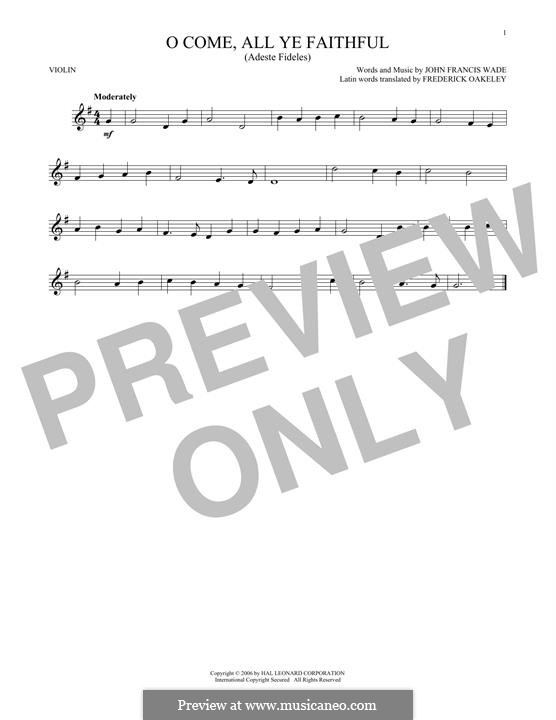 O Come, All Ye Faithful (Printable Scores): For violin by John Francis Wade