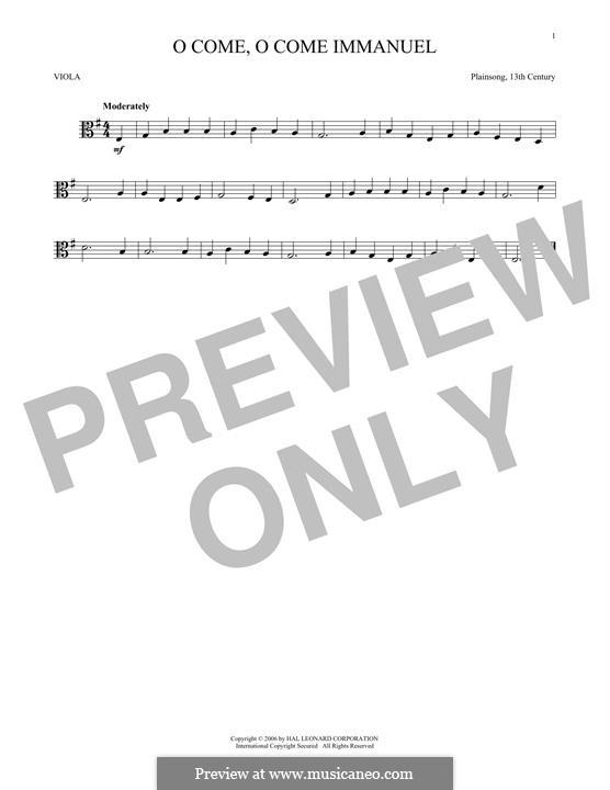 O Come, O Come, Emmanuel: For viola by folklore