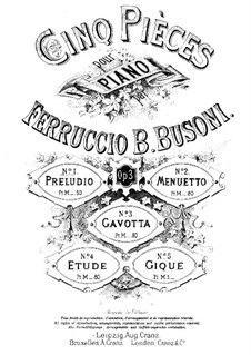 Cinq Pièces (Five Pieces), BV 71 Op.3: No.1 Prelude by Ferruccio Busoni