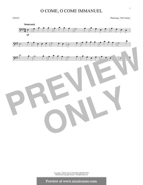 O Come, O Come, Emmanuel: For cello by folklore