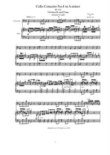 Concerto for Cello and Strings in A Minor, RV 422: Version for violoncello and piano by Antonio Vivaldi