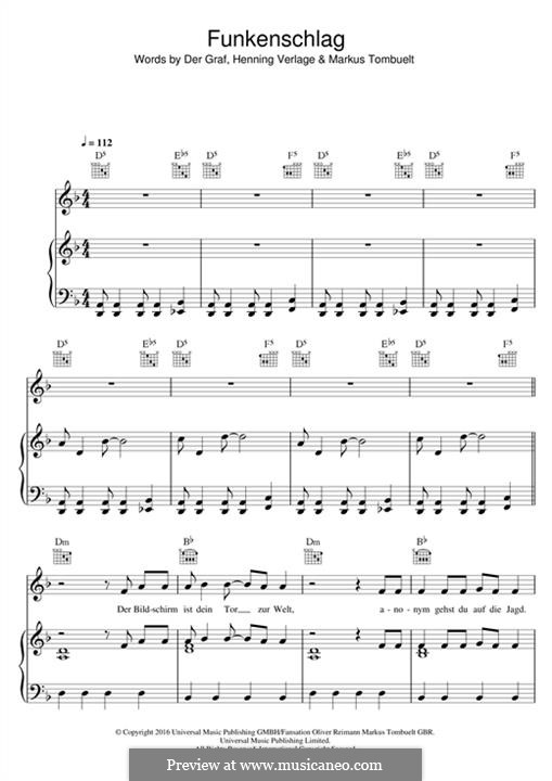 Funkenschlag (Unheilig): For voice and piano (or guitar) by Der Graf, Henning Verlage, Markus Tombuelt