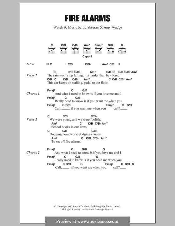 Fire Alarms: Lyrics and chords by Ed Sheeran, Amy Wadge