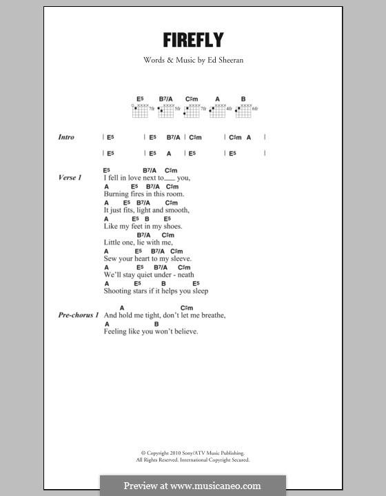Firefly: Lyrics and chords by Ed Sheeran