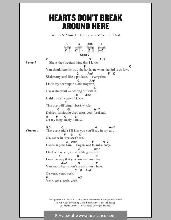 Hearts don't Break Around Here: Lyrics and chords by Ed Sheeran, John McDaid