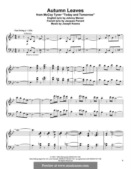 Autumn Leaves: For piano by Joseph Kosma