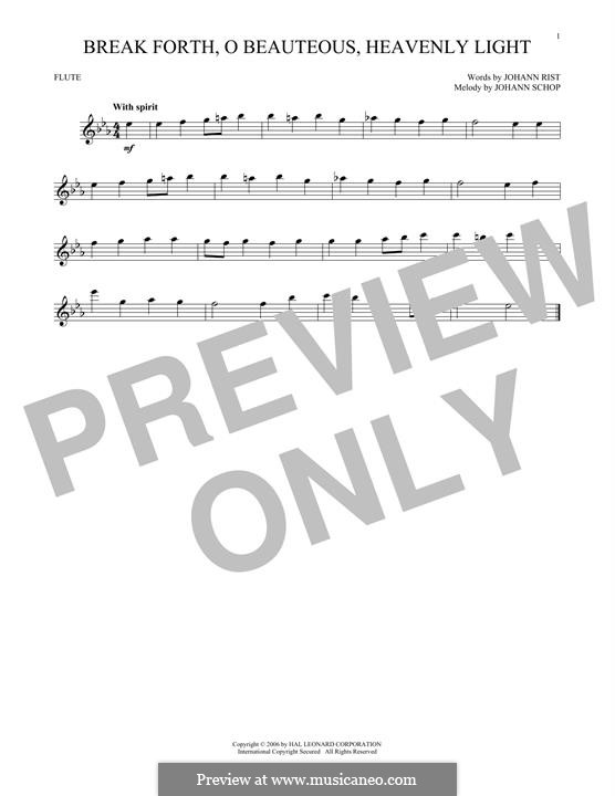 Break Forth, o Beauteous, Heavenly Light: For flute by Johann Schop
