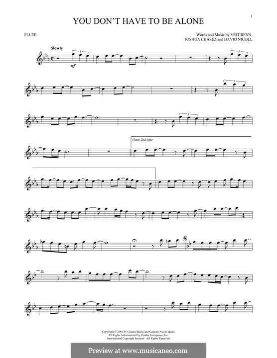 You Don't Have To Be Alone ('N Sync): For flute by David Nicoll, Joshua Chasez, Veit Renn