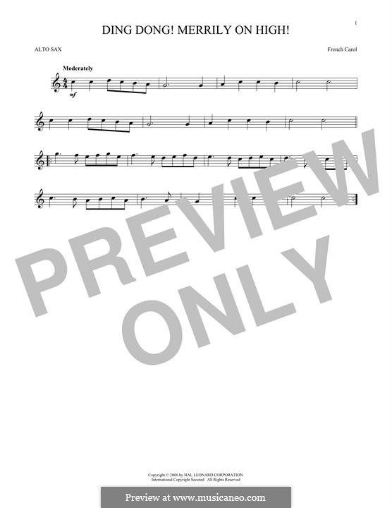 Ding Dong! Merrily on High (Printable Scores): For alto saxophone by folklore