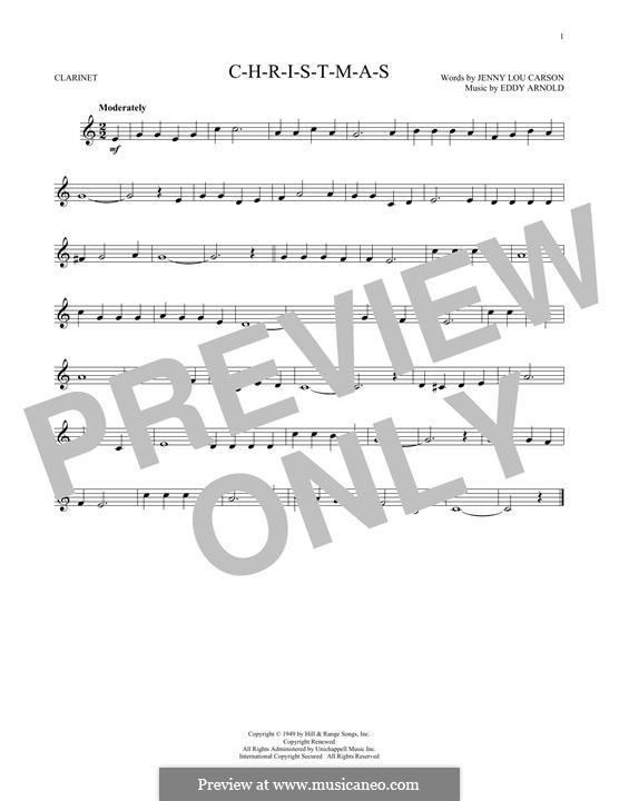 C-H-R-I-S-T-M-A-S (Perry Como): For clarinet by Eddy Arnold