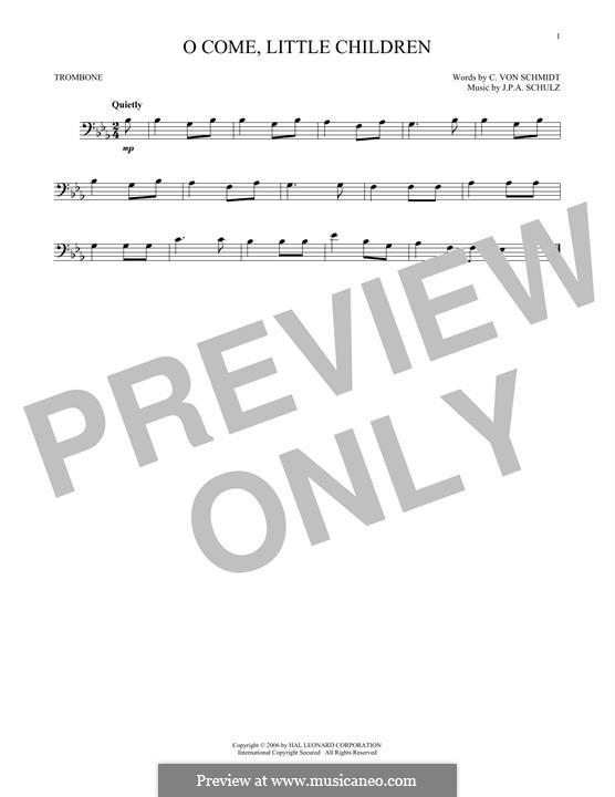 O Come, Little Children: For trombone by Johann Abraham Schulz