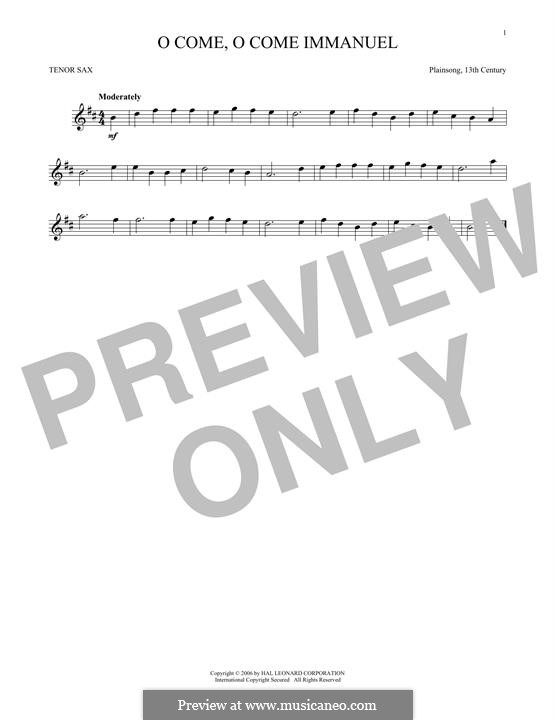 O Come, O Come, Emmanuel: For tenor saxophone by folklore
