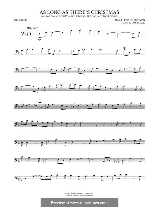 As Long as There's Christmas (Peabo Bryson and Roberta Flack): For trombone by Rachel Portman
