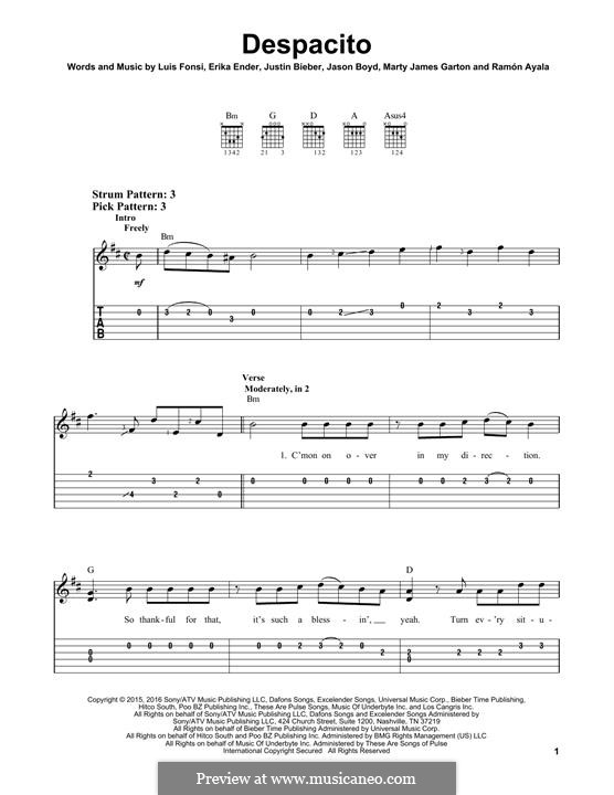 Despacito (feat. Justin Bieber): For guitar with tab by Luis Fonsi, Erika Ender, Ramon Ayala
