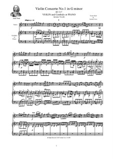 Concerto for Violin and Strings in G Minor, RV 317 Op.12 No.1: Version for violin and piano by Antonio Vivaldi