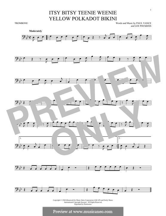 Itsy Bitsy Teenie Weenie Yellow Polka Dot Bikini: For trombone by Lee Pockriss, Paul J. Vance