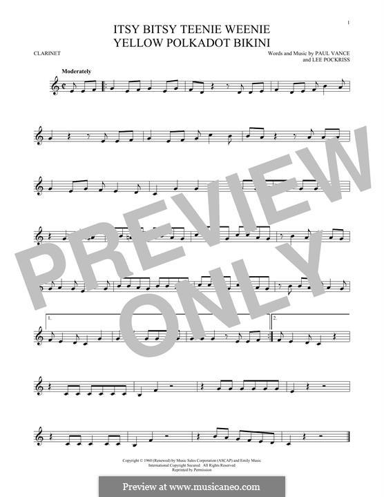 Itsy Bitsy Teenie Weenie Yellow Polka Dot Bikini: For clarinet by Lee Pockriss, Paul J. Vance