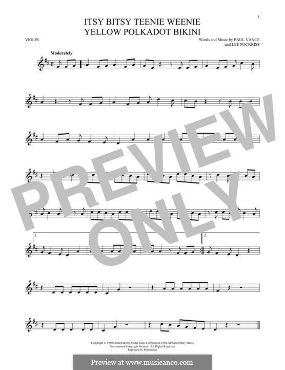 Itsy Bitsy Teenie Weenie Yellow Polka Dot Bikini: For violin by Lee Pockriss, Paul J. Vance
