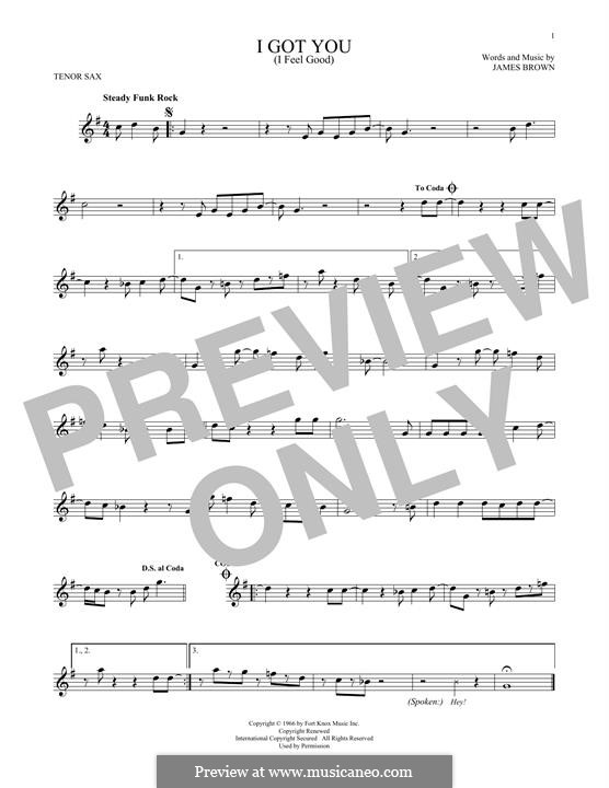 I Got You (I Feel Good): For tenor saxophone by James Brown