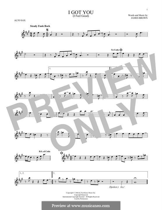 I Got You (I Feel Good): For alto saxophone by James Brown