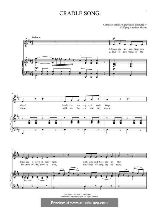 Lullaby: For voice and piano by Wolfgang Amadeus Mozart