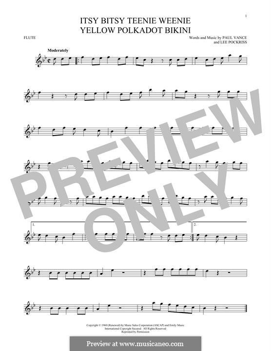 Itsy Bitsy Teenie Weenie Yellow Polka Dot Bikini: For flute by Lee Pockriss, Paul J. Vance