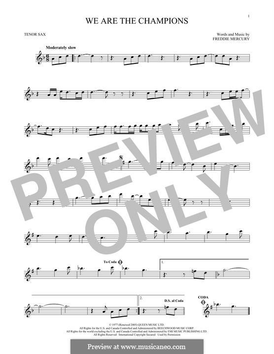We are the Champions (Queen): For tenor saxophone by Freddie Mercury