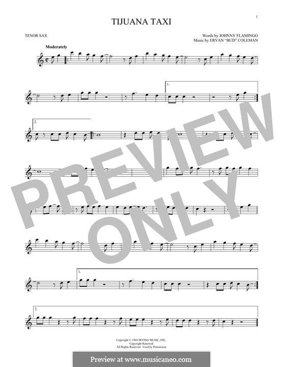 Tijuana Taxi (Herb Alpert & The Tijuana Brass Band): For tenor saxophone by Ervan Coleman, Johnny Flamingo