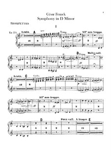 Simphony in D Minor, Op.48: Trumpets and Cornets á Piston parts by César Franck