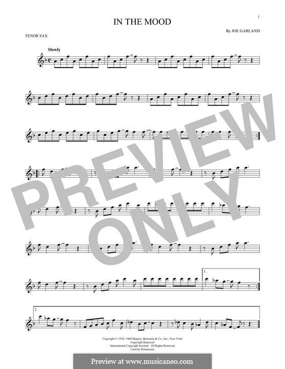 In the Mood (Glen Miller): For tenor saxophone by Joe Garland