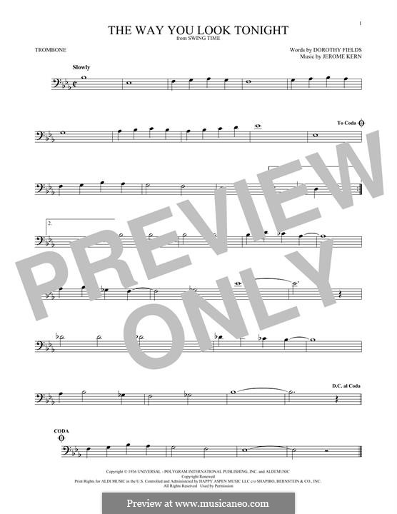 The Way You Look Tonight: For trombone by Jerome Kern