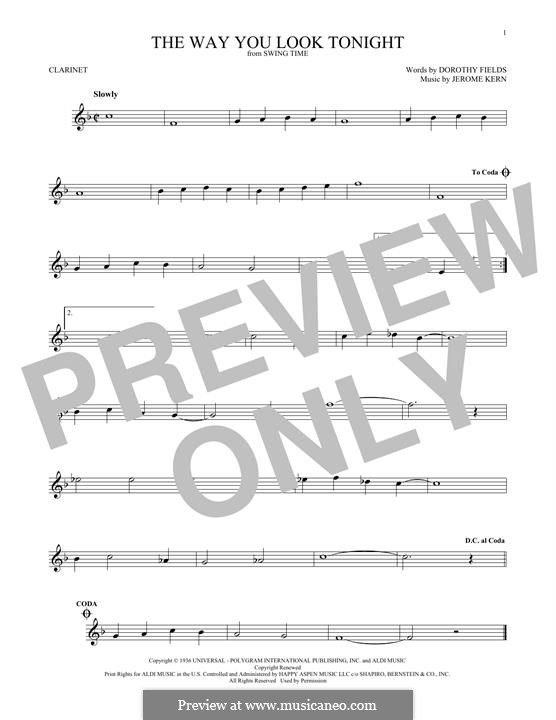The Way You Look Tonight: For clarinet by Jerome Kern