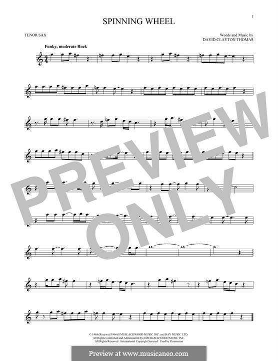 Spinning Wheel (Blood, Sweat & Tears): For tenor saxophone by David Clayton Thomas