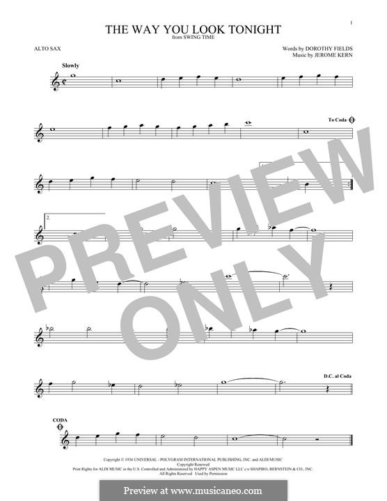 The Way You Look Tonight: For alto saxophone by Jerome Kern